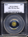 California Fractional Gold: , 1869 Liberty Octagonal 25 Cents, BG-750, R.5, MS63 PCGS. ...