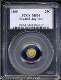 California Fractional Gold: , 1865 Liberty Round 25 Cents, BG-803, High R.5, MS64 PCGS. ...