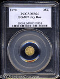 California Fractional Gold: , 1870 Liberty Round 25 Cents, BG-807, Low R.7, MS64 PCGS. ...