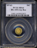 California Fractional Gold: , 1874/3 Indian Round 50 Cents, BG-1052, High R.4, MS64 ...