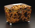 Decorative Arts, British:Other , A Regency Tortoiseshell Veneered Tea Caddy. Unknown maker, English.Circa 1820. Tortoiseshell, ivory, silver, mother of pe...