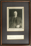 "Autographs:U.S. Presidents, Theodore Roosevelt Signature, sight size 6"" x 1.5"" matted andframed with a portrait to an overall 10.75"" x 16.5"". A large a..."