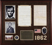 """Abraham Lincoln Document Signed, """"Abraham Lincoln"""" and countersigned by William H. Seward as Secretary of Stat..."""