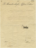 """Autographs:Non-American, One of the Last Documents Signed by Benito Mussolini Registered Just Three Days Before his Death D.S. """"Mussolini"""" in Ita..."""
