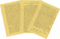 """Lengthy J.D. Salinger Typed Letter Signed with a Holograph Closing Good personal content T.L.S. """"Jerry"""" and ad..."""