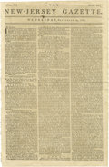 """Books:Periodicals, 1781 New Jersey Gazette Newspaper. September 19, 1781, Trenton, New Jersey, four pages, 9"""" x 14.5"""", one of the earli..."""
