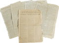 Books:Periodicals, Lot of Revolutionary War Newspapers. Five 18th century newspapersconsisting of The Connecticut Courant and Weekly Intelli...(Total: 5 )
