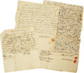 """Antiques:Black Americana, Three Connecticut Slavery Documents. Each one page manuscript withvarious signatures: 6.5"""" x 7.5"""" (no date), 7.5"""" x 8.5"""" (1...(Total: 3 )"""