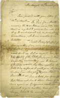 "Autographs:Military Figures, Jonathan Trumbull Jr. Autograph Letter Signed ""J Trumbull"". Two pages, legal size, Newburgh, March 18, 1783. Jonathan Tr..."