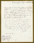 "Autographs:Non-American, Autograph Letter Signed by Pauline Bonaparte, Favorite Sister ofNapoleon. A.L.S. ""Pauline"" in French, 1p., 7"" x 9"" (si..."