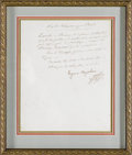 "Autographs:Non-American, Eugene de Beauharnais Note Signed,""Eugene Napoleon"", onepage, 7"" x 9"", Paris, France, May 2, 1811. An official French l..."