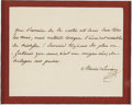 "Autographs:Non-American, Framed Autograph Quotation Signed by Empress Marie Louise, SecondWife of Napoleon Bonaparte. Superb AQS ""Marie Louise"",..."