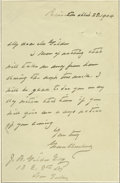 "Autographs:U.S. Presidents, Grover Cleveland Autograph Letter Signed A.L.S. ""GroverCleveland"", 1p., 4.5"" x 7"", Princeton, March 28, 1904,informing..."