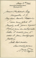 "Autographs:U.S. Presidents, William H. Taft Autograph Letter Signed A.L.S. ""Wm H Taft""on Supreme Court letterhead, 1p., 5"" x 8"", [Washington], May ..."