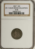 Bust Dimes: , 1827 10C F15 NGC. JR-11 Ex: Jules Reiver Collection. NGC Census:(2/244). PCGS Population (2/211). Mintage: 1,300,000. Numi...