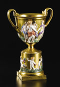 Ceramics & Porcelain, Continental:Modern  (1900 1949)  , A Capodimonte Gilt Ground Urn. Unknown maker, Italy. Early Twentieth Century. Porcelain. Marks: Crowned N in underglaz...