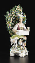 Ceramics & Porcelain, British:Antique  (Pre 1900), A Chelsea-Style Porcelain Bocage Figural Group. Unknown maker, possibly England. Nineteenth Century. Porcelain with polych...
