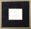"""Autographs:U.S. Presidents, John F. Kennedy 1960 Luncheon Invitation Signed. A printed card, 5""""x 4.25"""", for a """"Tribute Luncheon tendered to Senator Joh..."""