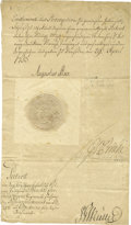 "Autographs:Non-American, Augustus III of Poland Document Signed ""Augustus Rex"" asking and elector, two pages in German, 8"" x 13.75"", April 29, 1..."