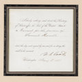 """Autographs:U.S. Presidents, Ulysses S. Grant as President Document Signed, """"U. S. Grant"""", partially printed, one page, 7.5"""" x 7.5"""", Washington, D.C...."""