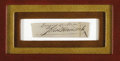 "Autographs:Statesmen, John Hancock Clipped Signature, 3.25"" x 1"". Hancock's large,distinctive signature is found here under two inscribed words, ..."