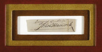 """John Hancock Clipped Signature, 3.25"""" x 1"""". Hancock's large, distinctive signature is found here under two ins..."""