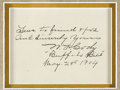 "Autographs:Celebrities, Buffalo Bill Dual Autographs on 5.25"" x 4"" card as follows:""True to friend & foe and Sincerely Yours W. T. Cody'Buffalo ..."