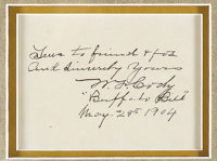 """Buffalo Bill Dual Autographs on 5.25"""" x 4"""" card as follows: """"True to friend & foe and Sincerely Yours..."""