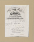 "Autographs:U.S. Presidents, Rutherford B. Hayes Document Signed, ""R B Hayes"", one page,partially printed, 12"" x 16"", Columbus, Ohio, April 11, 1871..."