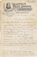 "Autographs:Celebrities, Phineas T. Barnum Autograph Document Signed Reviewing his RecentNational Tour Great content A.Ms.S. ""P.T. Barnum"" with ..."