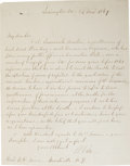 """Autographs:Military Figures, Robert E. Lee Autograph Letter Signed on blue-lined stationery, one page, 7.75"""" x 9.75"""", Lexington, Virginia, March (?) 24, ..."""