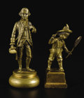 Sculpture, Two French Gilt Bronze Figural Paperweights. Unknown maker, French. Nineteenth century. Gilt bronze. Unmarked. 6.13 inches...