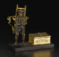 Sculpture, A French Bronze Seal Holder. Unknown maker, French. Nineteenth century. Gilt and patinated bronze, marble. Unmarked. 5.5 i...