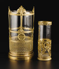 Decorative Arts, Continental:Other , Two Continental Gilt Bronze and Glass Vases. Unknown maker,Continental. Early Twentieth Century. Gilt bronze, glass. Unma...(Total: 2 )