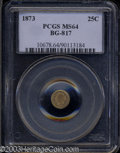 California Fractional Gold: , 1873 Liberty Round 25 Cents, BG-817, R.3, MS64 PCGS. ...