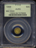 California Fractional Gold: , 1869 Liberty Round 50 Cents, BG-1020, Low R.4, AU55 PCGS. ...