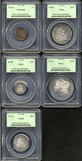 Early Proof Sets: , 1879 Cent PR65 Red and Brown PCGS, 1879 Dime PR64 PCGS, ... (5 coins)