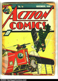 Action Comics #18 (DC, 1939) Condition: FR/GD. Origin 3 Aces. First X-Ray Vision? Fred Guardineer cover, with Siegel/Shu...