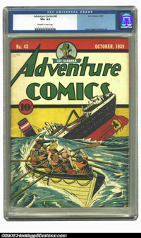 Adventure Comics #43 (DC, 1939) CGC VG+ 4.5 Off-white to white pages. Overstreet 2003 VG 4.0 value = $608; FN 6.0 value...