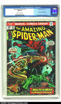 Amazing Spider-Man #132 (Marvel, 1974) CGC NM 9.4 Off-white to white pages. Molten Man appearance. John Romita Sr. cover...