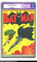 Golden Age (1938-1955):Superhero, Batman #1 (DC, 1940) CGC Apparent VF 8.0 Slight (P) White pages. Not only does this historic issue feature the origin of Bat...