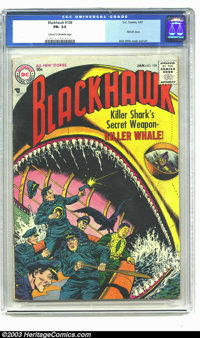 Blackhawk #108 (DC, 1957) CGC FN- 5.5 Cream to off-white pages. First DC issue. Dick Dillin cover and art. Overstreet 20...