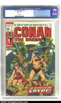 Bronze Age (1970-1979):Science Fiction, Conan The Barbarian #8 (Marvel, 1971) CGC NM 9.4 White pages. Barry Windsor-Smith cover and art. Hidden panel message, page ...