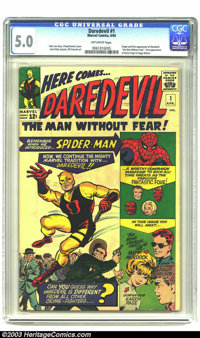 Daredevil #1 (Marvel, 1964) CGC VG/FN 5.0 Off-white pages. Origin and first appearance of Daredevil. Overstreet 2003 VG...