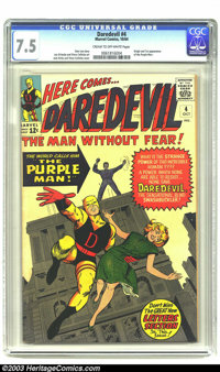 Daredevil #4 (Marvel, 1964) CGC VF- 7.5 Cream to off-white pages. Origin and first appearance of the Purple Man. Overstr...