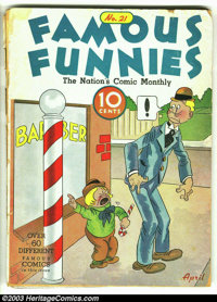 """Famous Funnies #21 (Eastern Color, 1936) Condition: FR/GD. Here is a rarely seen """"pre"""" Golden Age book. You be..."""