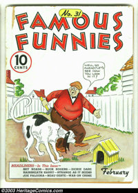 """Famous Funnies #31 (Eastern Color, 1937) Condition: GD/VG. Here is a rare opportunity to acquire a """"pre"""" Golde..."""
