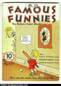 """Famous Funnies #33 (Eastern Color, 1937) Condition: GD/VG. Here is a rare opportunity to acquire a """"pre"""" Golde..."""