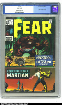 Fear #4 (Marvel, 1971) CGC NM+ 9.6 Off-white to white pages. Highest graded copy of this squarebound giant. You know how...