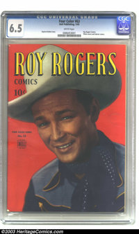 Four Color #63 Roy Rogers (Dell, 1945) CGC FN+ 6.5 White pages. Photo cover. Gaylord DuBois story. Highest-graded copy y...